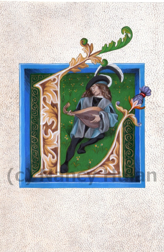 Letter L, Medieval Illuminated Letter L, Painted Initial L, Medieval ...