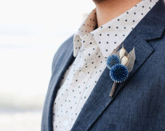Blue Echinops Boutonnière // Globe Thistle // Thistle Boutonniere