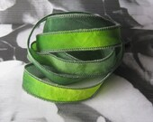 Hand Dyed Painted Habotai Silk Wrap Bracelet - moss green lime - Silk Fairy Ribbon DIY wrap bracelet Silk Bracelet  Ribbon Bracelet