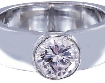 14k white gold round diamond engagement ring semi bezel set 1.00ct h-vs2 egl usa