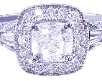 18k white gold cushion cut diamond engagement ring antique 1.78ctw g-vs2 egl usa