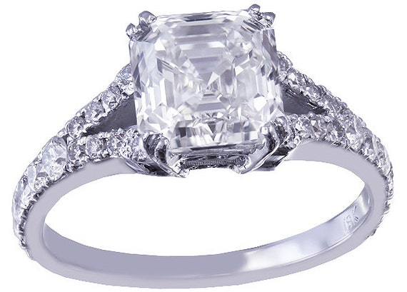 18k white gold asscher cut forever one moissanite and diamond