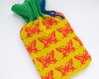 Knitted Lambswool Hot Water Bottle Cover -Hot Water Bottle -Butterfly Bottle Cosy -Yellow & Orange -Insects -Lambswool Cover- Wool Cosy-Knit