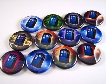 """Tardis Magnets, Tardis Pins, Dr Who Magnets, Dr. Who Pins, Multiculor, 1"""" Flat Backs, Hollow Backs, Cabochons, 12 ct."""