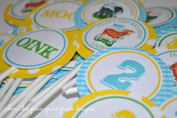Farm Cupcake Toppers Vintage Style