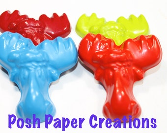 20 moose crayons - in cello bag tied with ribbon