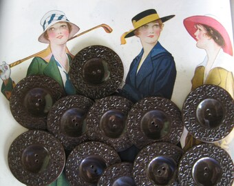 Vintage Chocolate Brown Bakelite Buttons...interesting pattern...new old stock...1930..lot /10