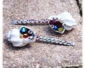 Swarovski Crystal Filled Shell Bobby pins Beach Wedding