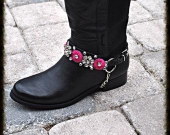 Hot Pink and Black Biker Cowboy Boot Chain Straps  Crystal Embellished  1 PR