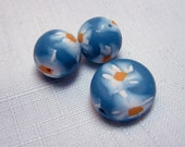Blue Jeans and Sunflower beads handmade polymer clay