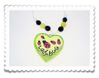 "Girl's Necklace, Hand Painted Wooden Heart "" Ladybug, Ladybug I love You"""