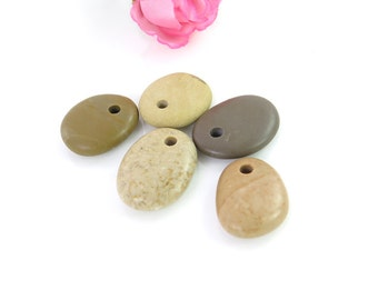 Beach Stone, Jewelry Beads, top Drilled Pebble Supplies,pendant,Natural Rock Charm Natural Pebbles,Focal Beads