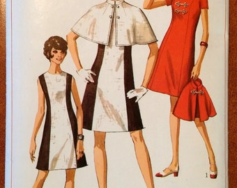 Simplicity Pattern 8114 Jr. or Misses' dress and cape size 14, bust 36 Pattern (P168)