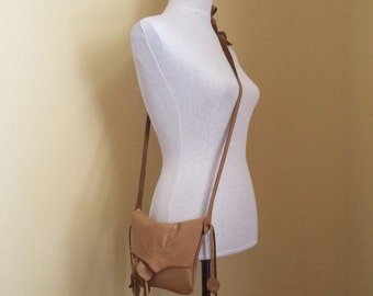 camel tan brown leather handbag shoulder purse  with leaves and fringe by Tuscada. Ready to ship.