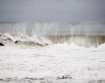 """Grey Ocean Photography, Stormy Sea, Wave Photography, Ocean Wall Art, Grey White Wall Art, Ocean Spray, Winter Swell """"The Perfect Storm"""""""