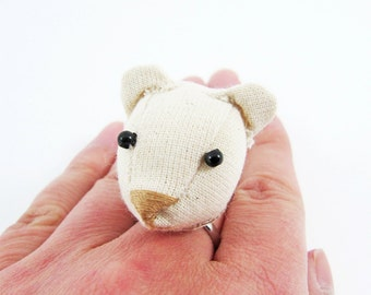 MADE-TO-ORDER ( 1 - 2 Weeks)- Bear Ring-Unbleached colour