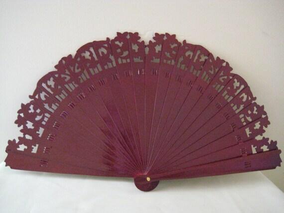 Regency/Victorian Style Fan. Plum Brise style.