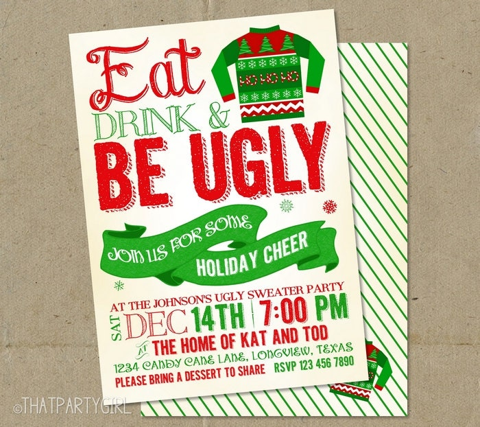 Ugly Christmas Party Sweaters: Ugly Sweater Invitations Christmas Party DIY