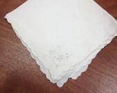 White vintage handkerchief with eyelet design & scalloped edging