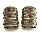 Pair Antique Turkmenistan Islamic Art Yomud ? Silver Carnelian Cuff Bracelets