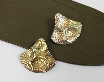 Hammered Brass Triangle Statement Earrings • Gingko Leaf Jewelry