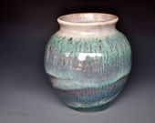 Wide Mouth Mossy Green Flower Vase Handmade A