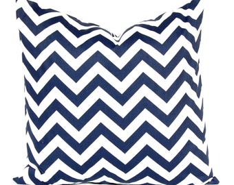 Chevron Pillows Navy Blue Decorative Throw Pillow Covers 22 x 22 Inches - Navy and White Chevron