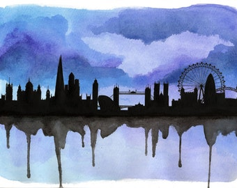 """London Skyline Silhouette 2, A4 10"""" x 8"""" Original, FREE SHIPPING** - Paint the Moment"""