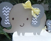 Elephant CAKE TOPPER set with Mommy and Baby Elephant in gray and white chevron and yellow accents