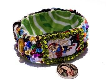 Archangel Michael scapular sequined embroidered bracelet