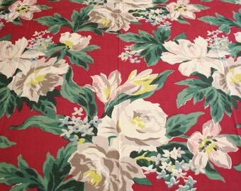 Gorgeous Magnolias Large Scale Design Unused Barkcloth Era Fabric - 48 by 40 Inches