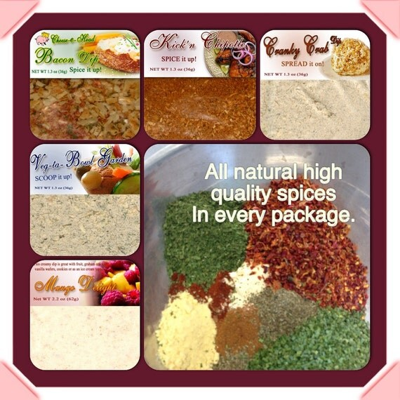 6 Dip Mixes Hand Blended In Our State Licensed Kitchen. DIP Into Those  Amazing Mouth Watering Flavors