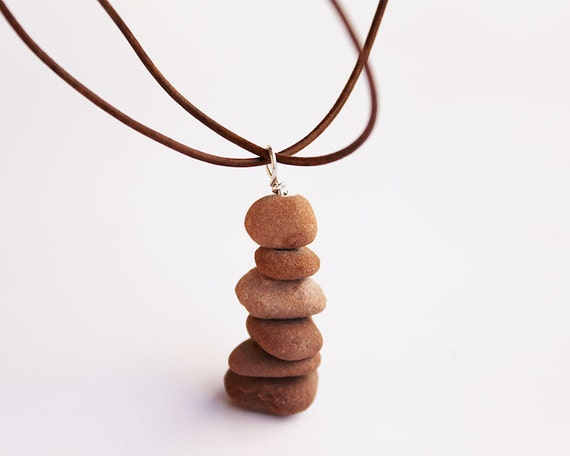 Natural Stone Cairn Necklace: Sedona Red Rocks zen jewelry