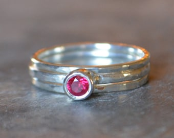 Ruby Sterling Silver Solitare Stacking Set Hammered Textured Recycled Sterling Silver Eco Friendly