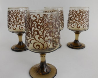 4 Vintage Libbey Prado Textured Water Goblets, Tawny Brown Drinking Glasses, Wine Goblets, 1970s