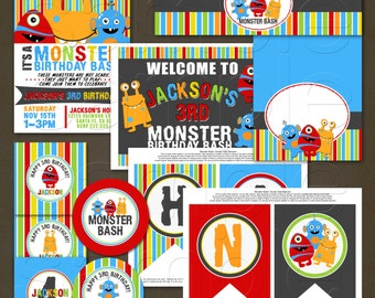 Monsters Birthday Printable Party Package, Personalized Monster Birthday, Boys Monsters Birthday
