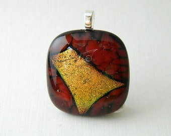 Red and Gold Dichroic Fused Glass Pendant
