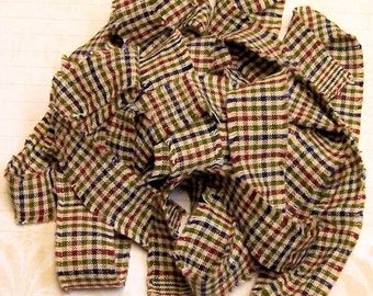 1 yard Homespun Cotton Fabric Ribbon Fall Green Burgundy Blue Plaid