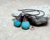Hand wrapped wire wrapped copper turquoise teardrop gemstone earrings