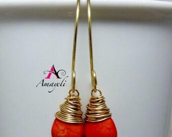 Hand wrapped gold orange gemstone artisan dangle earrings