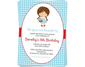 50% Off Sale! - PRINTABLE Dorothy/Wizard of Oz Party Invitation