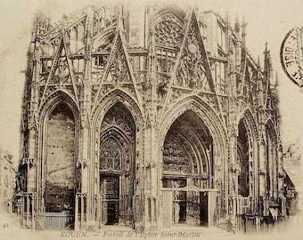 Saint-Maclou Church, Rouen, France - Antique Postcard
