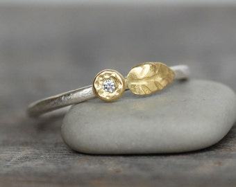 Tiny Diamond Gold Leaf Stacking Ring - 18k Gold and Silver Flower Ring - Gold Diamond Pebble Ring