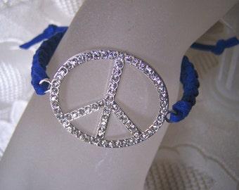 Peace Sign Bracelet Crystal Pave Macrame
