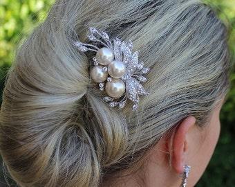 Bridal Hair Comb, Crystal & Cream Blush Pearl Bridal Hair Piece, Wedding Hair Accessories,  Bridal Hair Clip TALIA