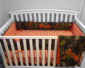 4 pc CAMO & ORANGE CHEVRON crib set