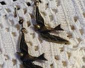 Antique Bronze Bird Earrings