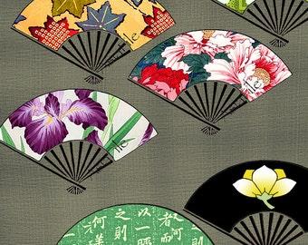 Printable Digital Collage Sheet, 1.5 Inch  Asian Fans, Asian Art,  Digital Art,  Japanese, Embellishments,  Scrapbooking, Pendants,  CS 138