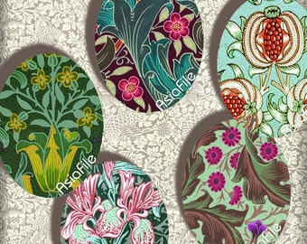 Morris Wallpaper Ovals, TWO Sheets - 30X40mm  AND 18X25mm, Digital Printable Images for Pendants Earrings Cabochons  Paper Crafts, CS 335
