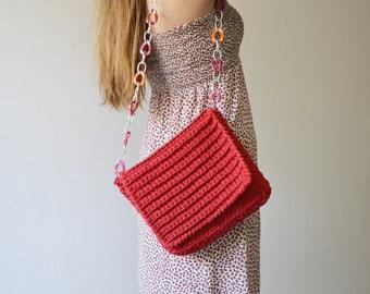 Crossbody bag, Boho bag, Red crochet bag for woman, girlfriend gift, Valentine Day gift